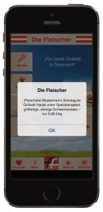 """App """"Die Fleischer"""":  Push-Nachrichten kostenlos senden"""